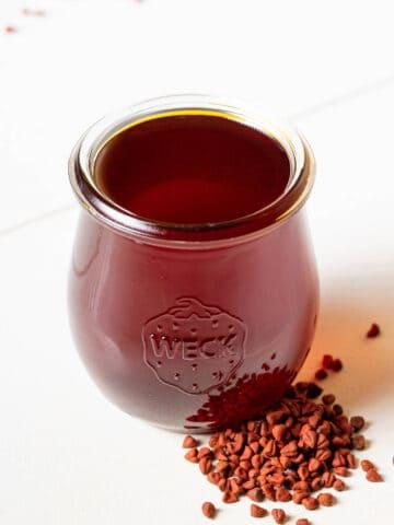 A jar of achiote oil